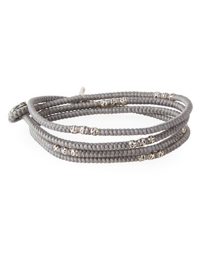 Men's Knotted Wrap Bracelet with Silver Beads  Gray