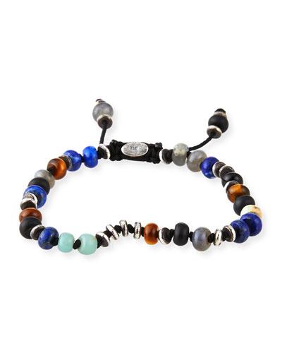 Men's Templar Jointed Gemstone Bracelet  Multicolor