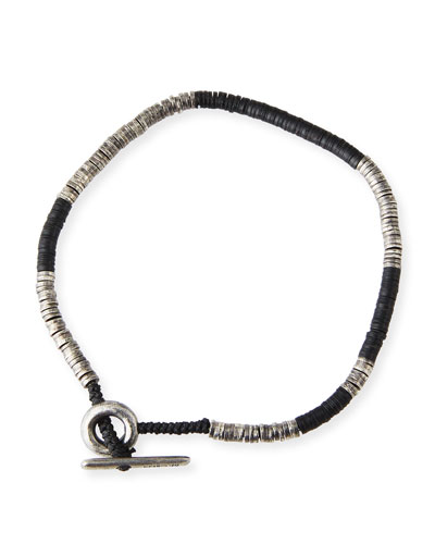 Men's Stacked Bead & Sterling Silver Disc Bracelet  Black