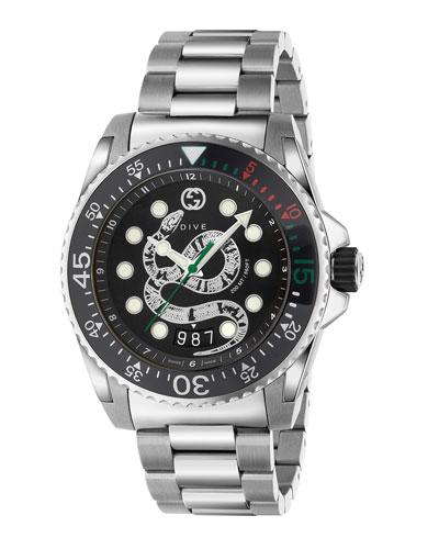 Men's Dive King Snake Stainless Steel Watch with Bracelet