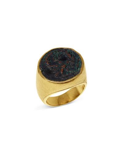 Men's Roman Eagle Coin 18K Gold Ring