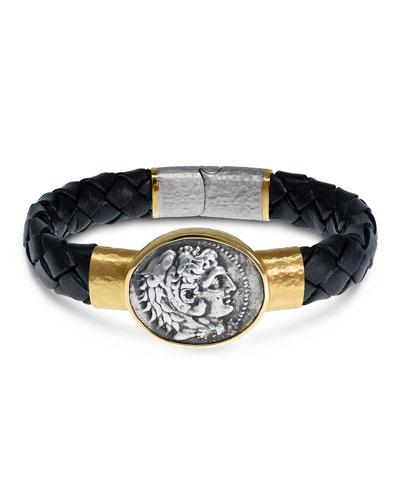 Men's Ancient Alexander The Great Coin Braided Leather Bracelet