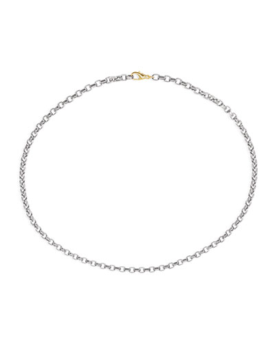 Men's Stainless Steel Chain w/ 18k Gold  22L  Gray