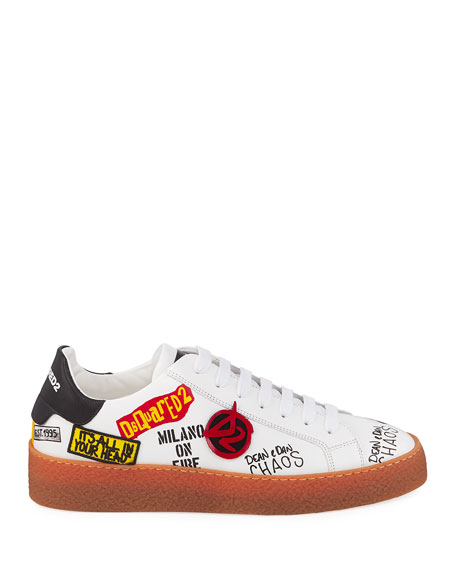 Men's Graffiti Low-Top Leather Sneakers