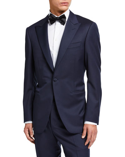 Wool Two-Piece Tuxedo Suit with Satin Peak Lapel
