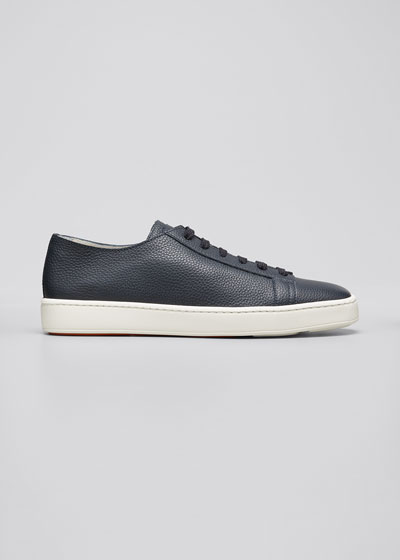 Men's Clean Iconic Leather Low-Top Sneakers  Navy