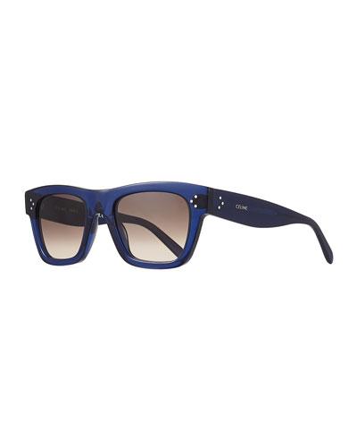 Men's Rectangular Acetate Sunglasses  Blue