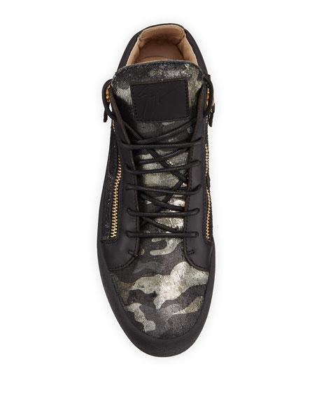 Men's Camo Double-Zip Leather Sneakers