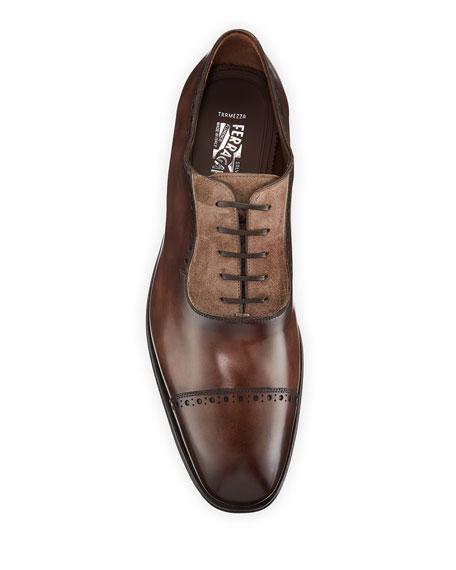 Men's Brawell Tramezza Two-Tone Leather Derby Dress Shoes