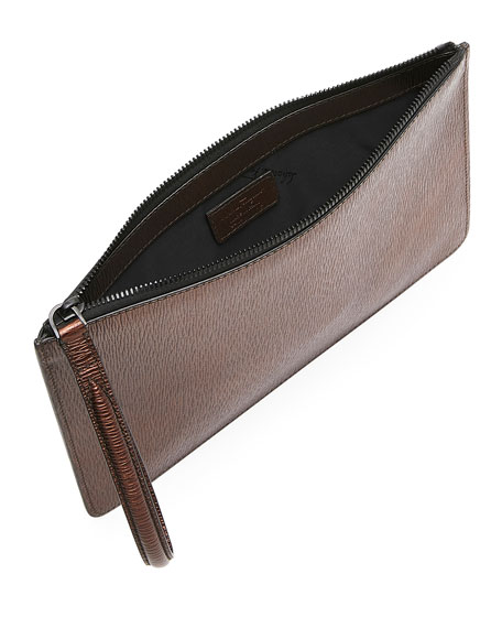 Men's Revival Textured Leather Pouch Bag