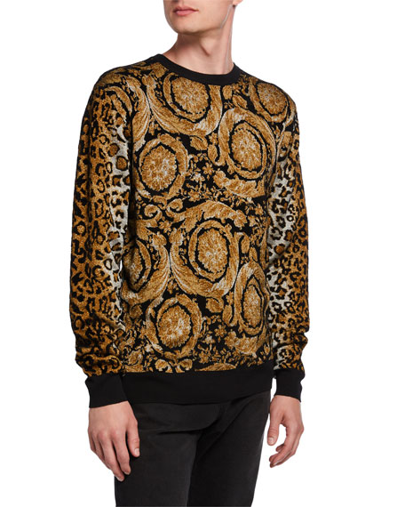 Men's Baroque Leopard Chenille Sweater