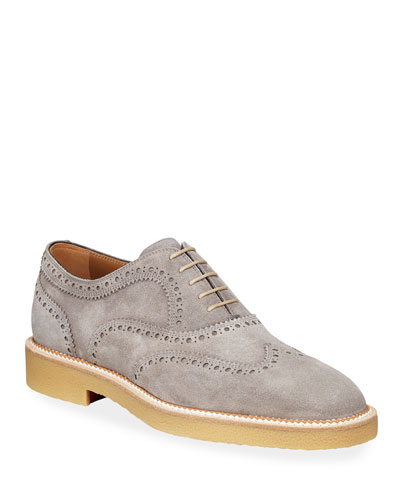 Men's Charlie Crepe-Sole Suede Wing-Tip Oxford Shoes