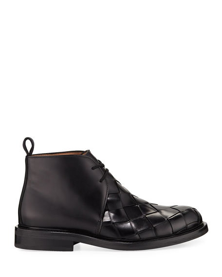 Men's Intrecciato Woven Leather Chukka Boots