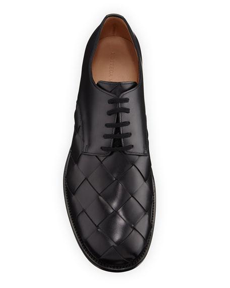 Men's Intrecciato Woven Leather Derby Shoes