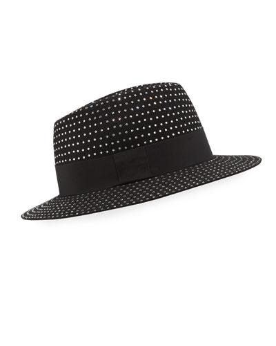 Men's Crystal-Embellished Rabbit Felt Fedora Hat