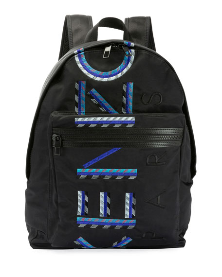 Men's Solid Nylon Backpack With Logo Embroidery by Kenzo