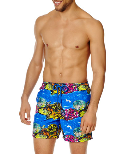 Men's Underwater Turtles Print Swim Trunks