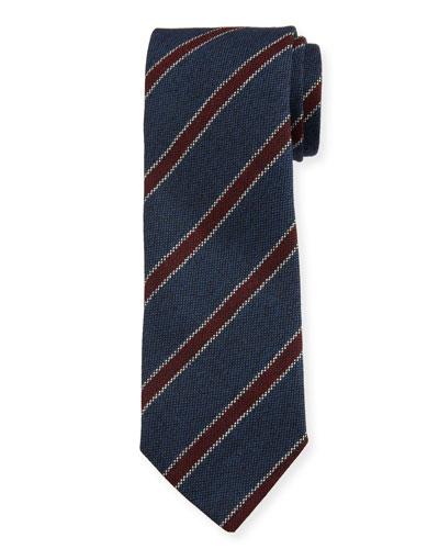 Men's Contrast-Stripe Wool Tie