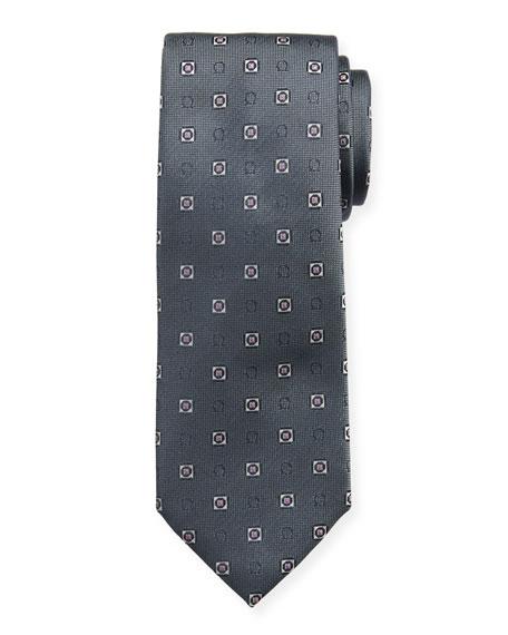 Men's Ivrea Gancini Medallion Silk Tie, Gray