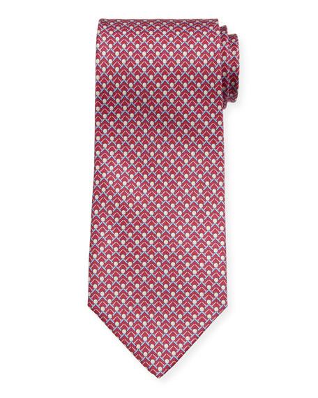 Men's Iago Golf Ball & Tees Silk Tie, Magenta