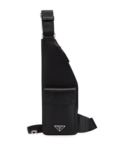 Men's Saffiano Leather Multi-Strap Crossbody Bag