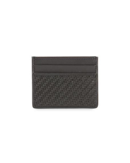 Men's Pelle Tessuta Leather Card Case