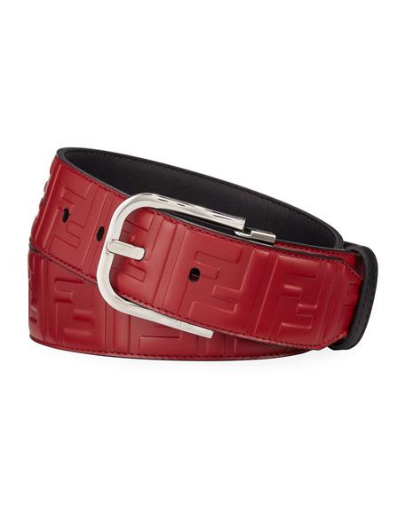 Men's Logo-Embossed Leather Belt