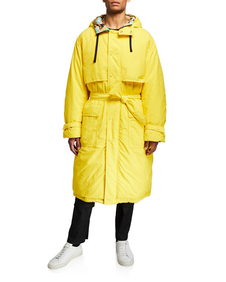 Men's Reversible Puffer Trench Coat