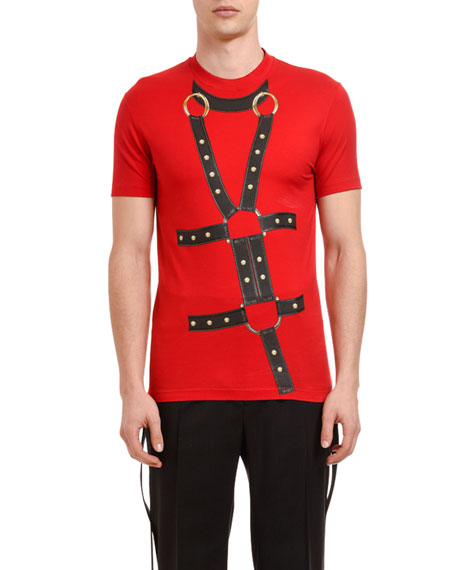 Image 1 of 1: Men's Slim-Fit Harness Graphic Crewneck T-Shirt