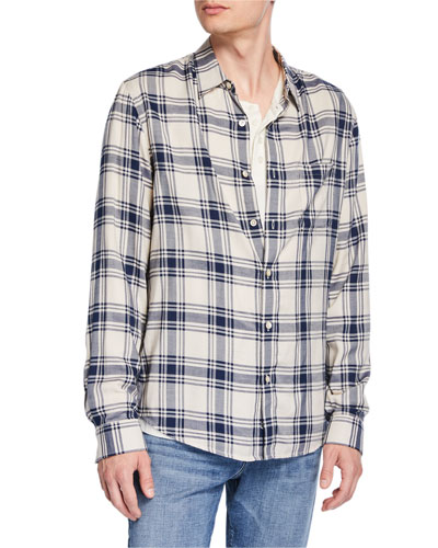 Men's Plaid Pocket Sport Shirt