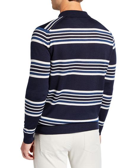 Men's Striped Long-Sleeve Polo Shirt
