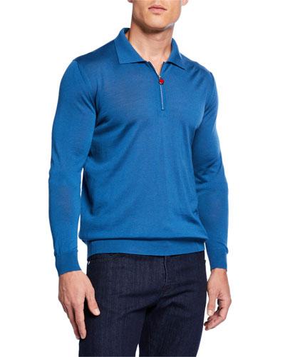 Men's Long-Sleeve Zip Polo Shirt