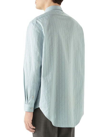 Men's Striped Logo-Print Sport Shirt