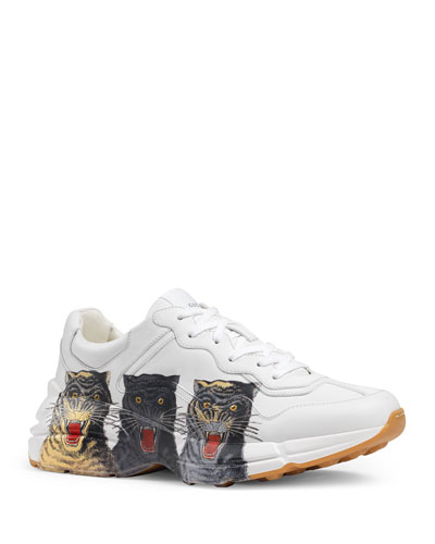 Men's Rhyton Tiger-Print Leather Dad Sneakers