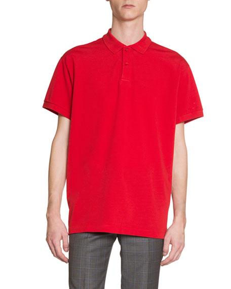 Men's Logo-Embroidered Pique; Polo Shirt