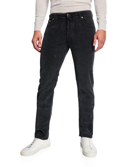 Men's 5-Pocket Stretch-Corduroy Pants, Gray
