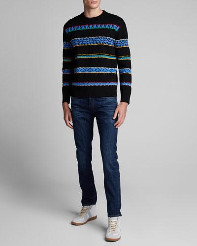 Men's Peruvian Striped Crewneck Sweater
