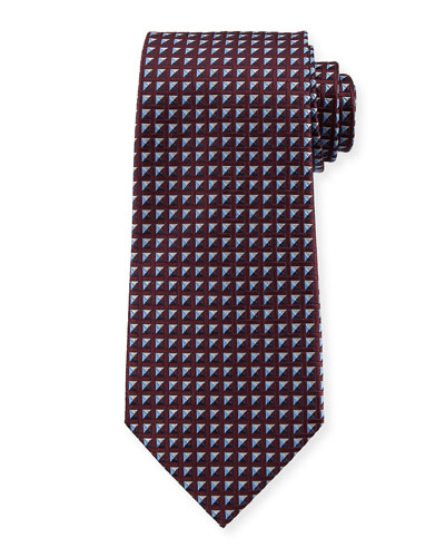 Shaded Squares Silk Tie  Burgundy