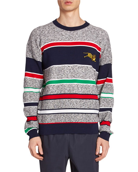 Men's Tiger-Embroidered Striped Sweater