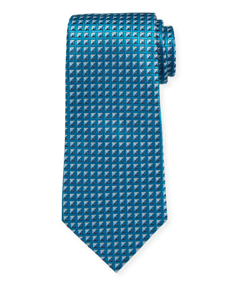 Shaded Squares Silk Tie, Teal/Blue