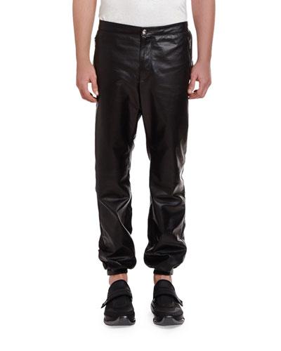 Men's Leather Drawstring-Waist Pants