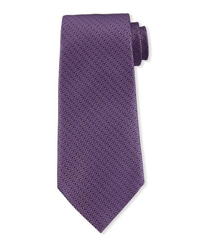 Tonal Circles Silk Tie  Purple