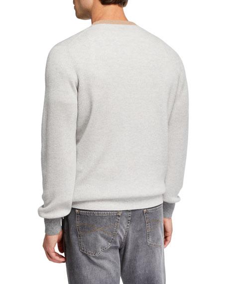 Men's Colorblock-Trim V-Neck Cashmere Sweater
