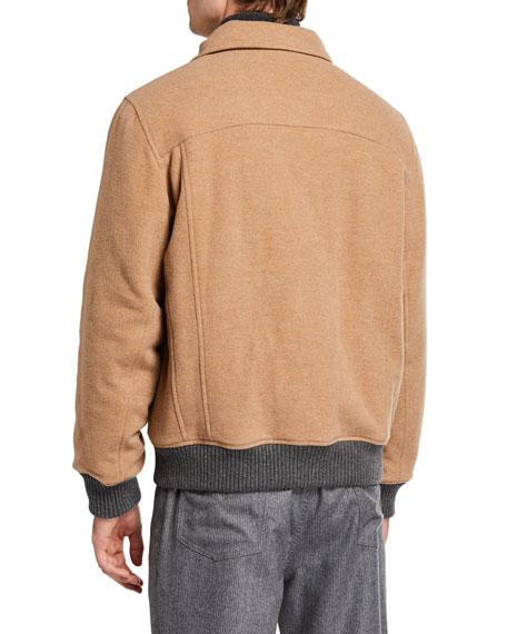 Men's Bomber-Style Patch-Pocket Jacket