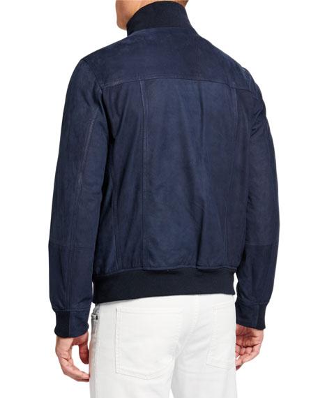 Men's Suede Bomber Jacket w/ Banded Bottom