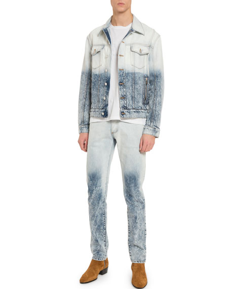Men's Distressed Acid-Wash Denim Jacket