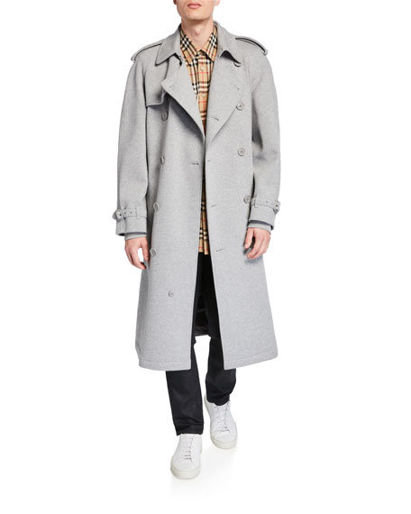 Men's Double Breasted Jersey Trench Coat by Burberry