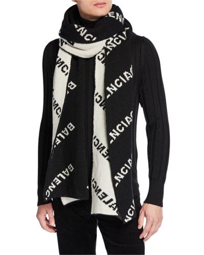 Men's Logo-Jacquard Wool Scarf
