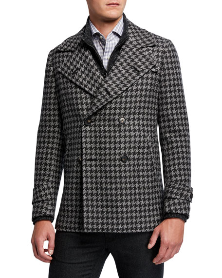 Men's Exploded Houndstooth Double-Breasted Coat