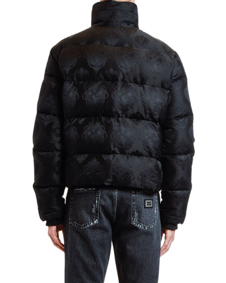 Men's Jacquard Quilted Puffer Bomber Jacket